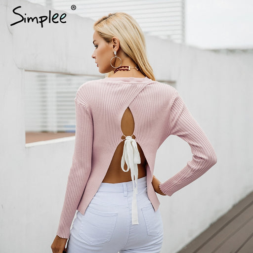 Simplee Backless bow knitted sweater women O neck casual pullover female 2017 autumn knitting jumper winter sweater pull femme - J. Rose Global