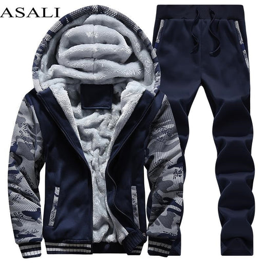 Tracksuit Men Sporting Fleece Thick Hooded Brand-Clothing Casual Track Suit Men Jacket+Pant Warm Fur Inside Winter Sweatshirt - J. Rose Global