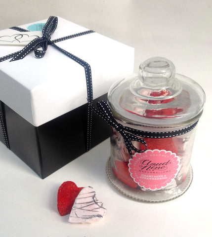 Champagne and Strawberries Valentines Hearts Jar