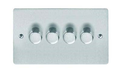 Studio Range Concealed Fixing Satin Chrome Dimmer Switch