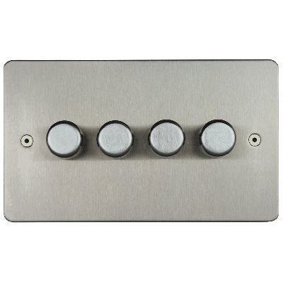 Horizon 4 Gang 2 Way Push On/Off Dimmer Switch Satin Steel