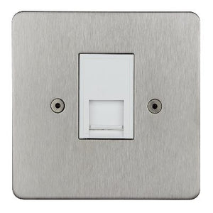 Horizon Telephone Slave 1 Gang Socket Satin Steel White Insert