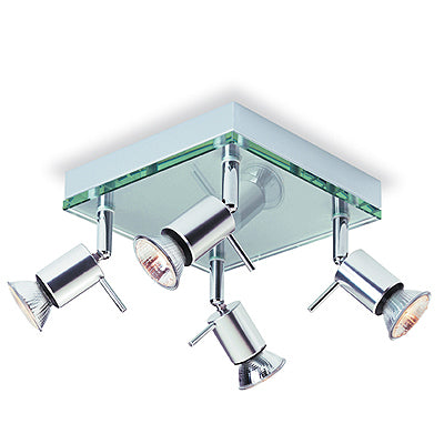 Aqua Ceiling Flush Plate Clear Glass 4x35W 240V