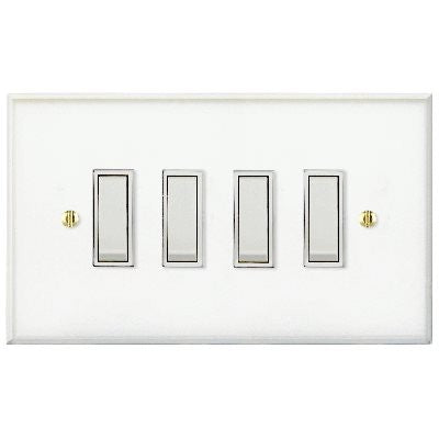 Prism Rocker 4 Gang 2 Way Switch Clear Acrylic White Insert