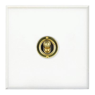 Prism Dolly Grid 1 Gang 2 Way Brass Switch Clear Acrylic
