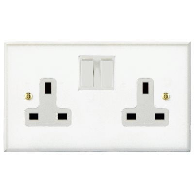 Prism Switched 2 Gang Socket Clear Acrylic White Insert