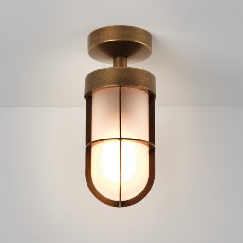 Astro Lighting Cabin Semi Flush Frosted Antique Brass
