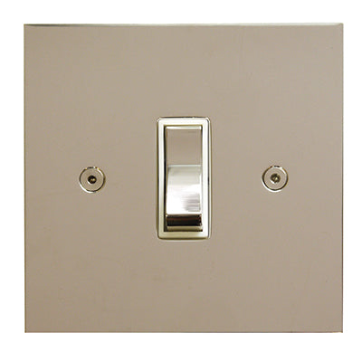 True Edge Rocker 1 Gang 2 Way Switch Polished Nickel White Insert