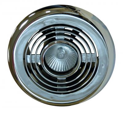 National Ventilation Monsoon Standard Duct Fan & Ceiling Vent Light Kit Chrome 187m³/hr MVL1DKCH