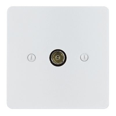 Ambassador TV Co-Axial 1 Gang Socket Primed White