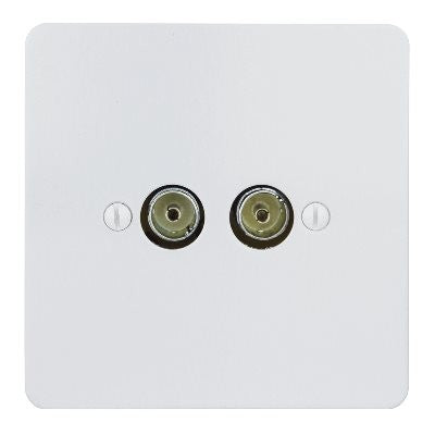 Ambassador TV Co-Axial 2 Gang Socket Primed White