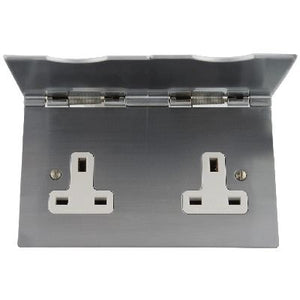 Floor Unswitched 2 Gang Socket Satin Chrome White Insert