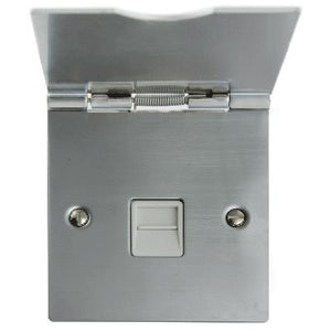 TV Floor 1 Gang Master Socket Satin Chrome White Insert