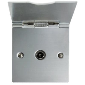 Co-Axial Floor 1 Gang Socket Satin Chrome