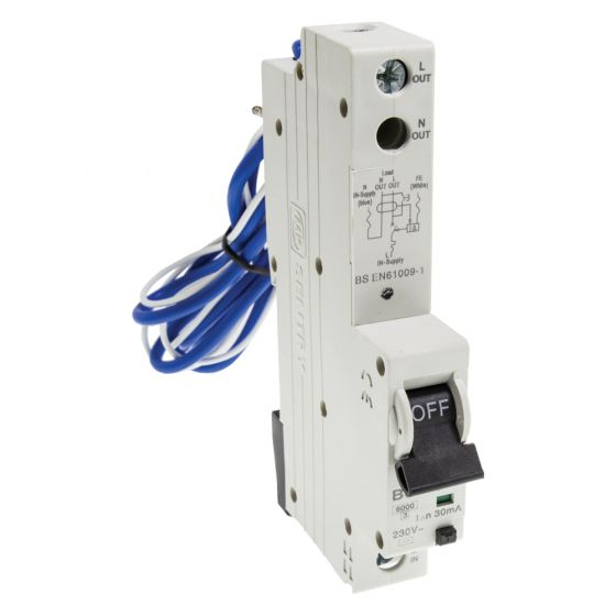 MK Sentry 7936S 32A RCBO Type B 30mA Single Pole 6kA Single Module