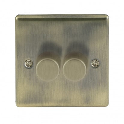 Antique Brass Low Profile 2 Gang 2 Way Dimmer Switch
