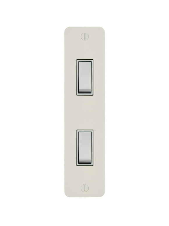 Focus SB Ambassador Architrave Grid 2 Gang 2 Way Switch Primed White White Insert