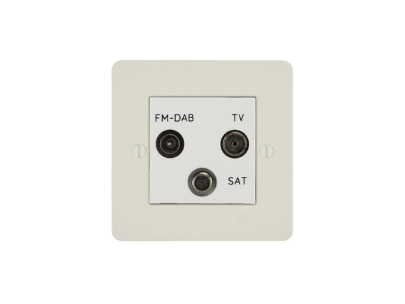 Focus SB Ambassador TV/FM/Satellite Triplex Socket Primed White White Insert