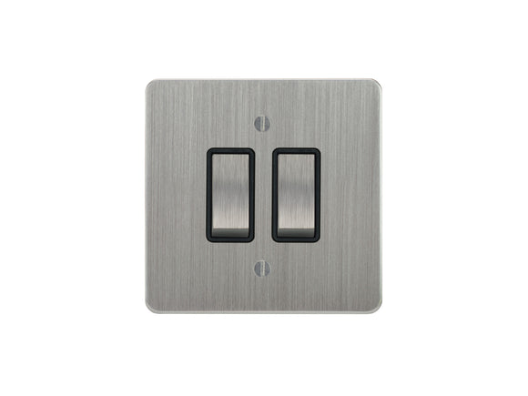 Focus SB Ambassador Rocker 2 Gang 2 Way Switch Satin Chrome Black Insert