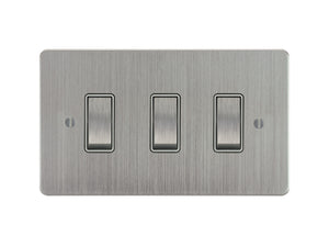 Focus SB Ambassador Rocker 3 Gang 2 Way Switch Satin Chrome White Insert