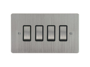 Focus SB Ambassador Rocker 4 Gang 2 Way Switch Satin Chrome Black Insert