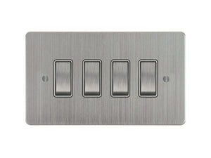 Focus SB Ambassador Rocker 4 Gang 2 Way Switch Satin Chrome White Insert