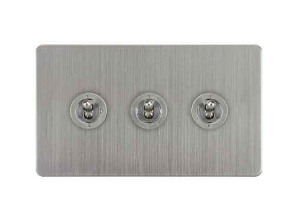 Focus SB Ambassador Dolly Grid 3 Gang 2 Way Switch Satin Chrome