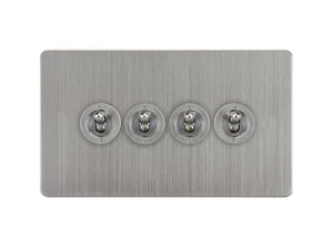Focus SB Ambassador Dolly Grid 4 Gang 2 Way Switch Satin Chrome