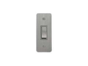 Focus SB Ambassador Architrave Grid 1 Gang 2 Way Switch Satin Chrome White Insert