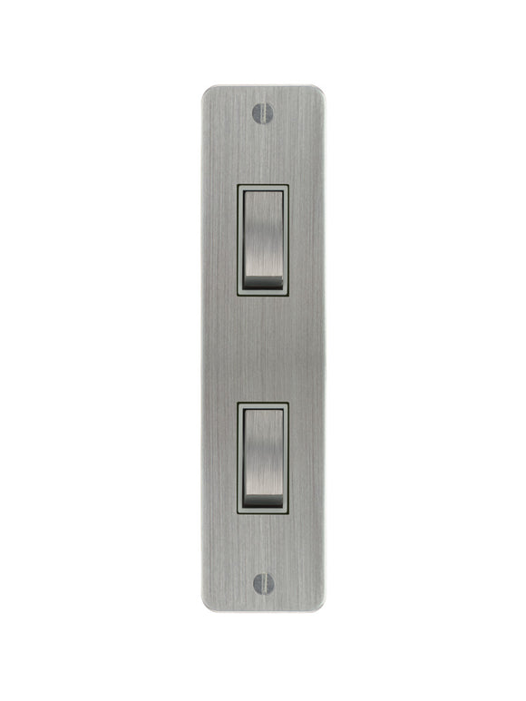 Focus SB Ambassador Architrave Grid 2 Gang 2 Way Switch Satin Chrome White Insert
