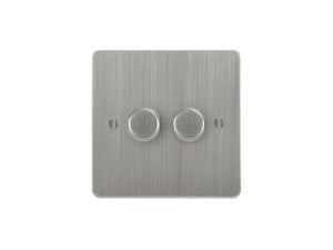 Focus SB Ambassador 2 Gang 2 Way Push On/Off Dimmer Switch Satin Chrome