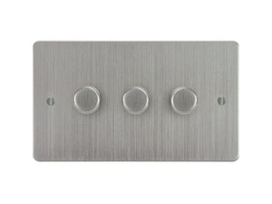 Focus SB Ambassador 3 Gang 2 Way Push On/Off Dimmer Switch Satin Chrome