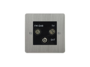 Focus SB Ambassador TV/FM/Satellite Triplex Socket Satin Chrome Black Insert
