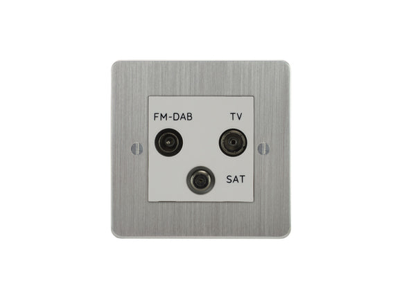 Focus SB Ambassador TV/FM/Satellite Triplex Socket Satin Chrome White Insert