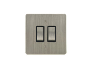 Focus SB Ambassador Rocker 2 Gang 2 Way Switch Satin Nickel Black Insert