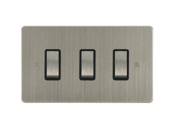 Focus SB Ambassador Rocker 3 Gang 2 Way Switch Satin Nickel Black Insert