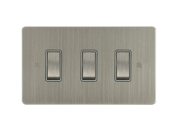 Focus SB Ambassador Rocker 3 Gang 2 Way Switch Satin Nickel White Insert