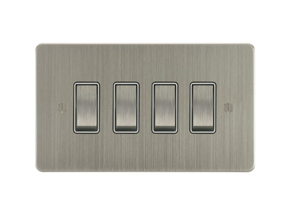 Focus SB Ambassador Rocker 4 Gang 2 Way Switch Satin Nickel White Insert