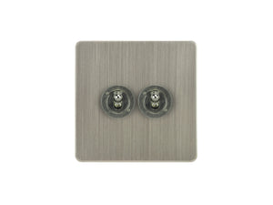 Focus SB Ambassador Dolly Grid 2 Gang 2 Way Switch Satin Nickel