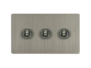 Focus SB Ambassador Dolly Grid 3 Gang 2 Way Switch Satin Nickel