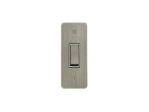 Focus SB Ambassador Architrave Grid 1 Gang 2 Way Switch Satin Nickel White Insert