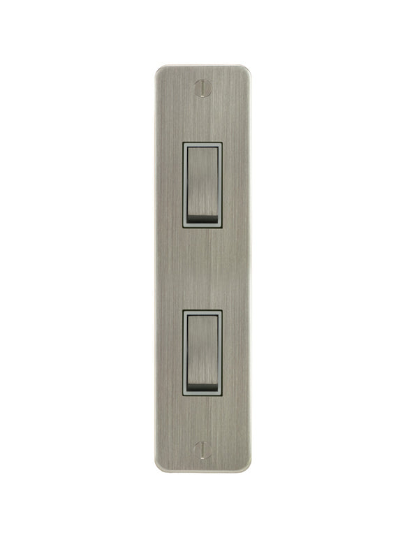 Focus SB Ambassador Architrave Grid 2 Gang 2 Way Switch Satin Nickel White Insert