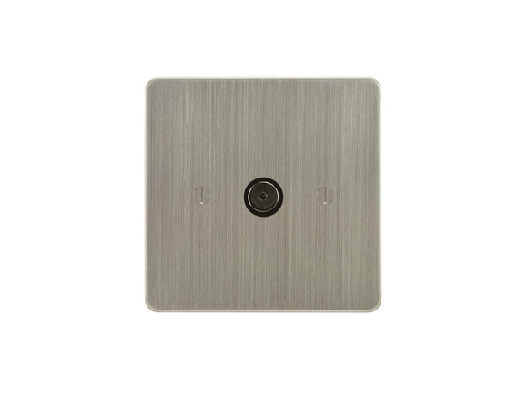 Focus SB Ambassador TV Co-Axial 1 Gang Socket Satin Nickel