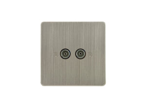 Focus SB Ambassador TV Co-Axial 2 Gang Socket Satin Nickel
