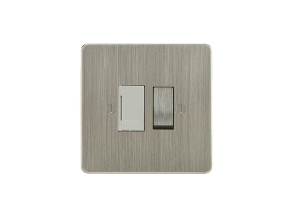 Focus SB Ambassador Switched 1 Gang Connection Unit Satin Nickel White Insert