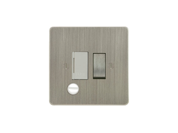 Focus SB Ambassador Switched 1 Gang c/w Cord Connection Unit Satin Nickel White Insert
