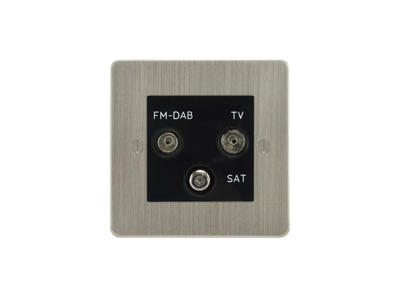 Focus SB Ambassador TV/FM/Satellite Triplex Socket Satin Nickel Black Insert