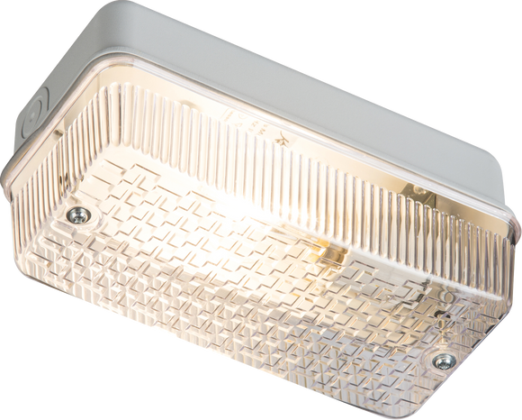 Knightsbridge 230V IP65 100W (BC) B22 Bulkhead with Clear Prismatic Diffuser and Aluminium Base