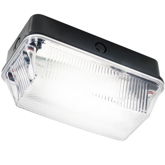 Knightsbridge 230V IP65 60W B22 Bulkhead with Clear Prismatic Diffuser and Black Plastic Base