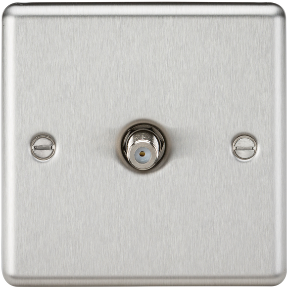 Knightsbridge Sat TV Outlet - Rounded Edge Brushed Chrome